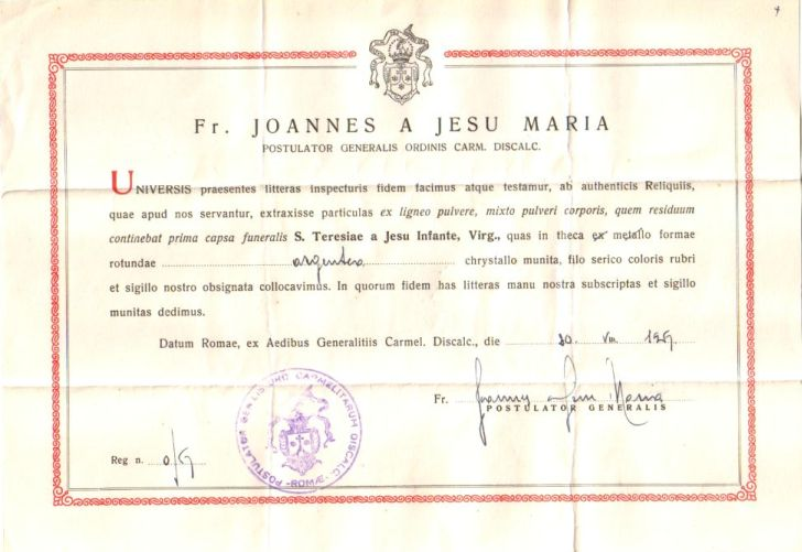 Vatican Certificate of authenticity of the relic of the ...