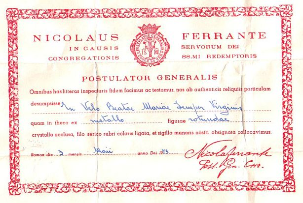 virgin relic certificate relics blessed veil mary submit question complete please misc