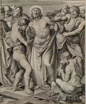 Jesus is stripped, and receives gall to drink.
